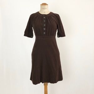 J.crew brown corduroy midi dress cotton size:4P